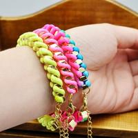 Korean version of sweet style colored thread woven bracelet fluorescence line winding metal chain bracelet wholesale mixed batch