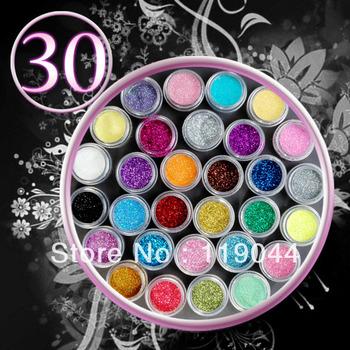 Free Shipping 30 Color Nail Glitter Acrylic Powder Dust Decoration Nail Art Tips  NA286