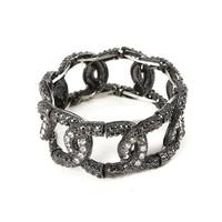 Minimum Order $20 (mixed order)   fashion accessories vintage black full rhinestone metal luxury quality bracelet