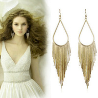 European and American big temperament tassel earrings large earrings long exaggerated retro female models without pierced ear cl