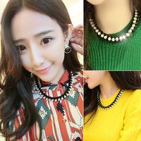 Korean version of the Korean pop super flash diamond necklace Europe exaggerated velvet dinner ladies knitting clavicle chain