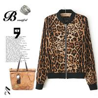 brand punk rock leopard print chiffon metal zipper baseball uniform shirt sweater hoodies jacket women female clothing outwear