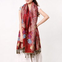 2013 women's ultra long jacquard paisley pattern decorative tassel air conditioning cape dual