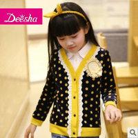 Free shipping Deesha spring and autumn female child long-sleeve t-shirt children's clothing medium-large child cardigan