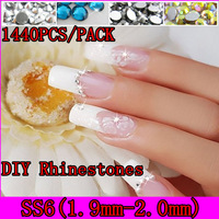 [GMT-SS6]Free Shipping 31 Colors To Choose 1440pcs/pack(One Color), SS6 Size(APP 1.9-2.0mm) Crystal Flat Nail Art Rhinestones