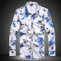 2013 autumn male flower long-sleeve shirt slim 100% cotton print casual shirt