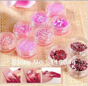 Free Shipping Pink Series Nail paillette Glitter Powder Dust Iridescent Ice Set Decoration Nail Art Kit NA549