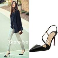 J222-6 Elegant S Line Design Pointed Toe Ankle Strap High-heeled OL Pumps Black/Apricot