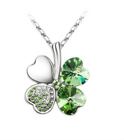 FREE SHIPPING 1PCS Crystal Lucky Clover Pendant Chain Necklace at various colors