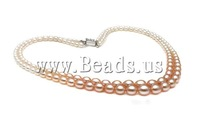 Free shipping!!!Natural Freshwater Pearl Necklace,Cheap, Cultured Freshwater Pearl, Round, mixed colors, AAA, 3-7mm