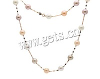 Free shipping!!!Natural Freshwater Pearl Necklace,Unique, Cultured Freshwater Pearl, with 18K Gold, Round, natural