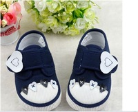 Baby Wear  Fashion Kid's Shoes New Arrival Lovely  Dark Blue Heart Baby ShoesTo Wear Comfortable Free shipping 12pcs/lot