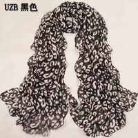 Eternal classic leopard print silk scarf female long design velvet chiffon summer spring and autumn scarf