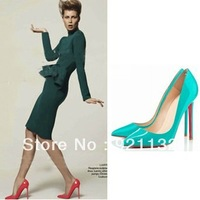 J222-2 Candy Color Simple Fashion Pointed Toe Stiletto High-heeled Party Pumps Black/Blue/Red/Yellow/Silver