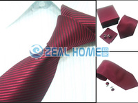 Men's neckties,business ties,100%silk shirts ties+handkerchief+cuff button,red with black striped, s260