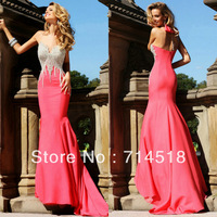 Hot Pink Satin Mermaid Evening Gowns Free Shipping With Heavy Beading 2013 New Arrival