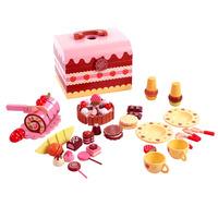 Wooden educational toys big fruit box qieqie look chocolate birthday cake afternoon tea