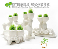 flower glass vase Ceramic + cultivation of raw mini potted DIY Cultivate home decoration 157g