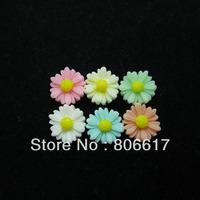 Free Shipping 100 Random Mixed Daisy Flower Resin Flatback Cabochon Scrapbook Embellishment DIY Phone Decoration 12mm(W02434)