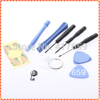 1Set wholesale Dropshipping Home Menu Button Flex Cable Black Key Cap Assembly With Repair Open Tool for iphone 4 4G