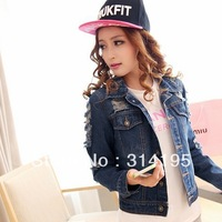 S,M,L  women's 2013 autumn and winter hole denim outerwear water wash top free shipping  mlsd9161