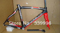 Nero Rosso Shiny Lucido full carbon fiber 2013 Pinarello Dogma 65.1 Think2 743 road bike frame+seatpost+headset!