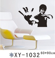 top quanlity large vinyl wall stickers Bruce Lee diy home decorative wall papers 60*90 cm free shiping