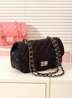 New arrival women's handbag candy color fashion bag side lock black iron chain bag shoulder bag plaid fashion chain bag