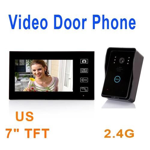 "2.4G 7"" TFT Wireless Video Door Phone Intercom Doorbell Home Security Camera Monitor, freeshipping wholesale(China (Mainland))"