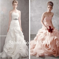 Discount Opulent A-line Strapless Pleated Organza Pink Wedding Gowns 2013