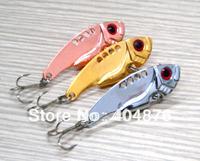 New Design 12PCS VIBE Fishing lures 5.5CM 11G 8#hooks fishing tackle vibrator Lure Bait Spoon Metal Lures VIB009 free shipping