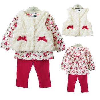 Retail 2013 Winter New Baby Girl's Brand Clothes 100 Cotton T-shirt+Leggings+Faux Fur Tank 3PC Set Clothing Free Shipping