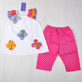 Hot sell!  Free shipping 6 sets/ lot summer clothing sets polka dots three layers sleeves white top with flowers + dots pant