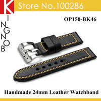 For PANERAI Handmade Genuine Leather watchband 24mm leather nato strap with steel buckle Free shipping