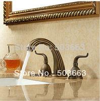 Promotions 3 pcs 2 Handle Deck Mounted Antique Brass Deck Mounted Bathroom Mixer Tap Bath Basin Sink Faucet S-101