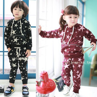 Autumn and winter child 100% five-pointed star cotton casual male child girls child clothing set