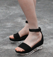 New arrival 2014 simone rocham platform belt sandals transparent platform sandals