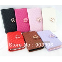 Luxury Deluxe Grid Wallet Leather Case Cover For Samsung GALAXY SIV S4 i9500 6 Colors WorldWide Free Shipping