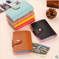 255 European and American style fashion cute ladies lamb leather striae simple hasp 24-bit cards bank card package free shipping