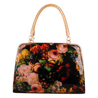 2013 glossy oil painting quality PU women's handbag cross-body portable banquet commercial fashion bag