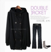 2013Korean Double Breasted Hooded Coat Black free shipping Y10081021