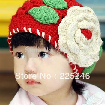 Girls Cute Knitting Crochet Hollow Big Flowers Red Head Hat Winter Hat Cap 1-2T XL140 Free shipping7DropShipping