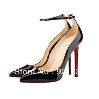 J222-12 Newest Fashion Ankle Strap Elegant Pointed Toe High-heeled Pumps Black/Apricot