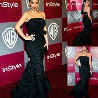 Kim Kardashian Strapless Backless Ruffles Red Carpet Evening Gown Elegant Black Celebrity Dresses New Fashion 2013