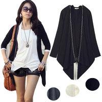 New Korean Style Rivet Cardigan For Women's Long Sleeve Shirt Outerwear Black White Gray Irregular Hem Tops Freeshipping