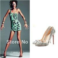 J222-13 Characteristic Top Stars Same Item Rivets Embellished Pointed Toe High-heeled Pumps Black/White