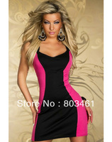 Wholesale New Arrival Sexy Casual Stylish Dress Elegant Two Tone Dress Pink White M/XL available Plus Size Dress  CB9461