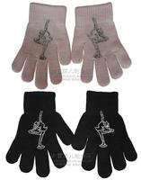 Gloves figure ice skates hand gloves rhinestones gloves
