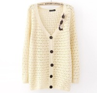 Autumn casual women's openwork sweater Single-breasted bow V-neck cardigans knitted sweater