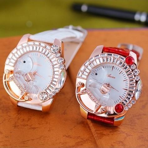 Fashion Women Elegant Lady Quartz Leather Strap Diamond Face Hot Sale Vogue High Quality Watches(China (Mainland))